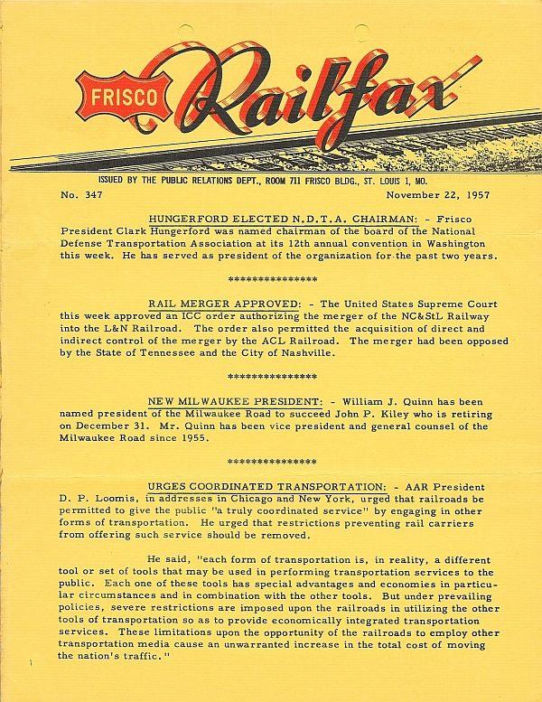 Railfax 347 - November 22, 1957