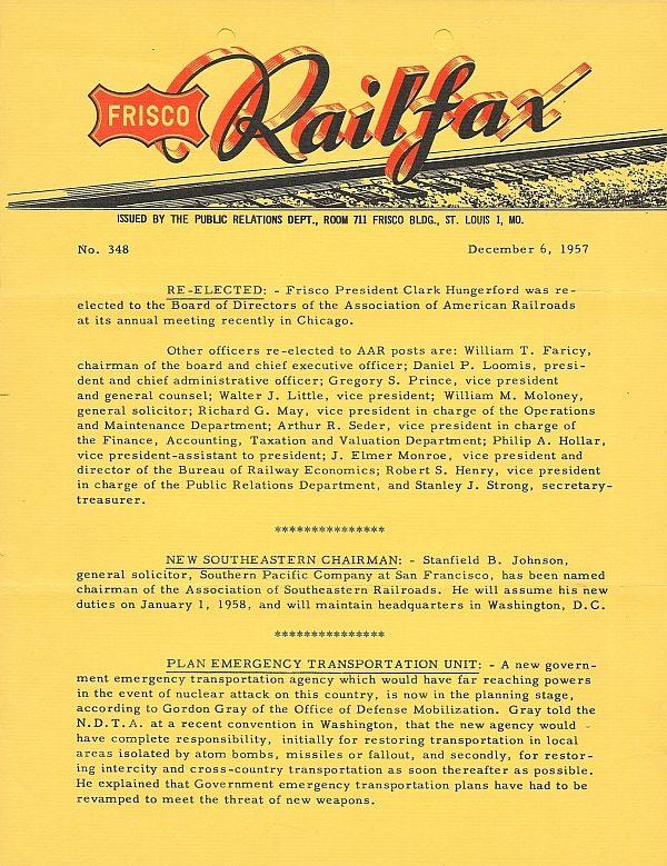 Railfax 348 - December 6, 1957