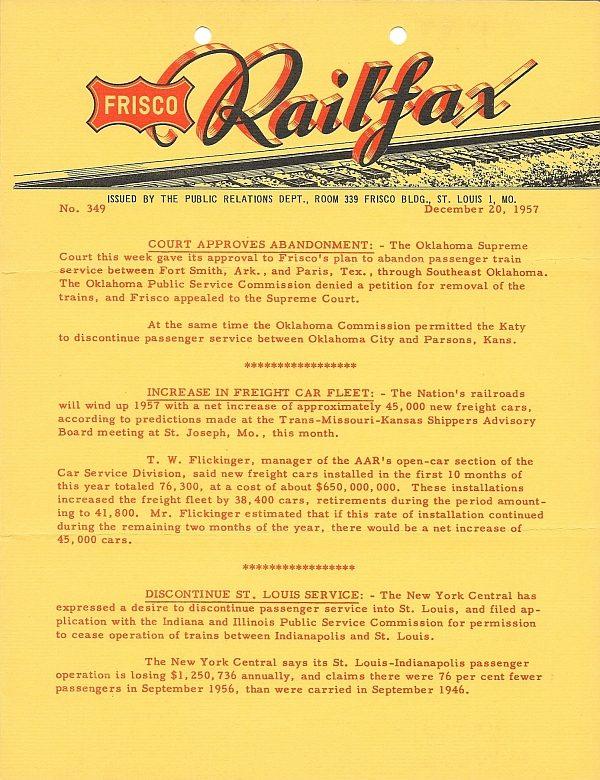 Railfax 349 - December 20, 1957