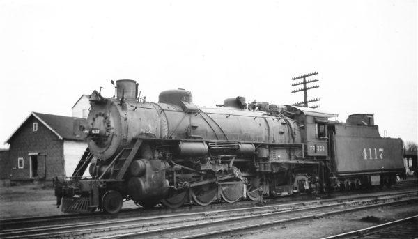 2-8-2 4117 at Monett, Missouri on March 20, 1948 (Arthur B. Johnson)