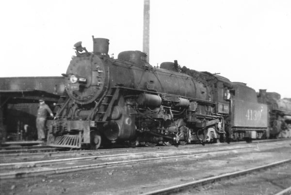 2-8-2 4130 at Springfield, Missouri on February 2, 1946 (Arthur B. Johnson)