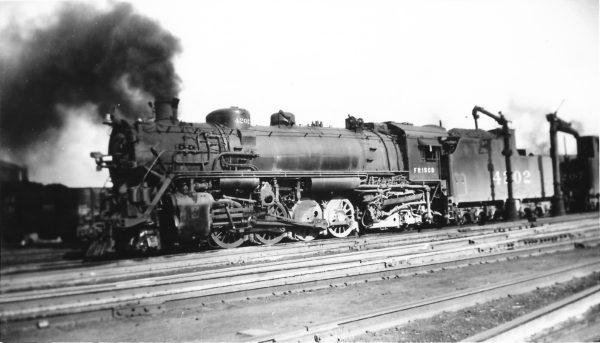 2-8-2 4202 at Springfield, Missouri on December 6, 1946 (Arthur B. Johnson)