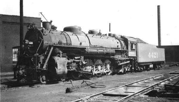 4-8-2 4421 at Springfield, Missouri on April 3, 1948 (Arthur B. Johnson)