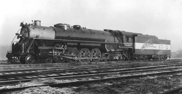 4-8-4 4502 at St. Louis, Missouri in December 1944 (Arthur B. Johnson) (Meteor)