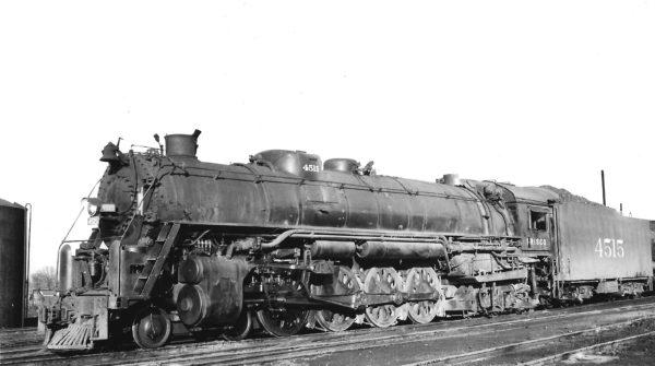 4-8-4 4515 at Springfield, Missouri on December 28, 1947 (Arthur B. Johnson)