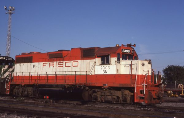 GP38-2 2308 (Frisco 453) at Galesburg, Illinois on September 22, 1981 (M.R.  Lynn)