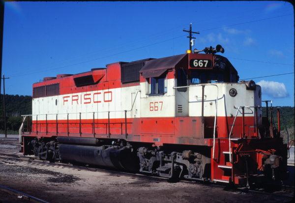 GP38-2 667 at Tulsa, Oklahoma on May 17, 1980 (John Benson)