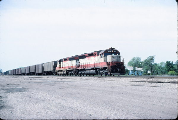 SD45s 931 and 921 at Olathe, Kansas on May 11, 1977
