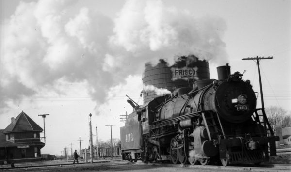 2-8-2 4013 at Cherryvale, Kansas on February 9, 1946 (Abbey-Louis A. Marre Collection)