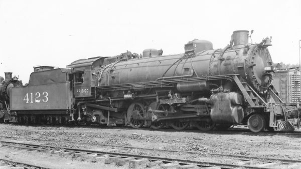 2-8-2 4123 at Springfield, Missouri on July 8, 1950 (Arthur B. Johnson)