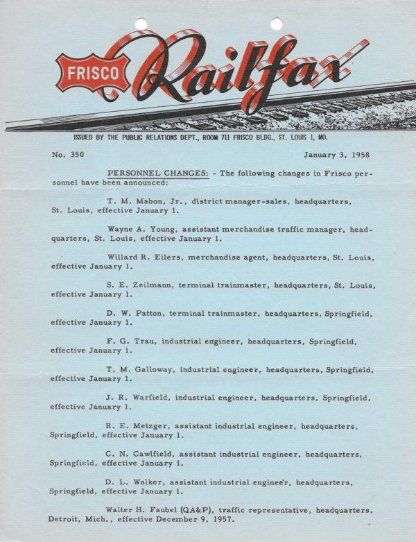 Railfax 350 - January 3, 1958