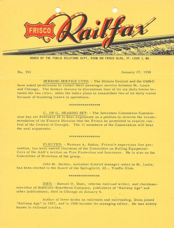 Railfax 351 - January 17, 1958