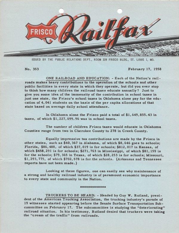 Railfax 353 - February 17, 1958