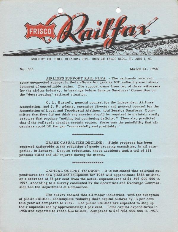 Railfax 355 - March 21, 1958