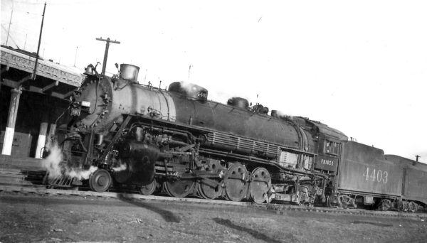 4-8-2 4403 at Kansas City, Missouri on March 22, 1948 (Arthur B. Johnson)