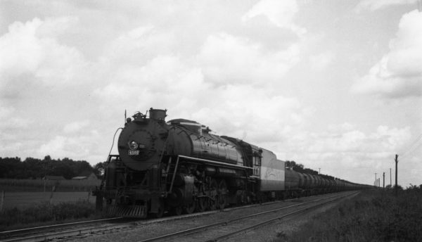 4-8-4 4500 at Nichols, Missouri with the second section of Train #33 (76 cars) on September 3, 1944 (Collins-Louis A. Marre)
