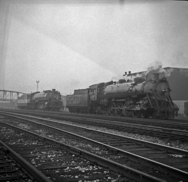 4-8-4 4502 and 4-8-2 1511 at St. Louis, Missouri (date unknown) (Louis A. Marre)