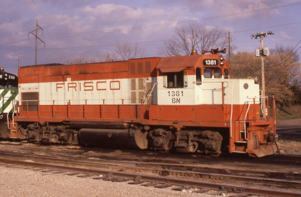 GP15-1 1381 (Frisco 106) at Fort Smith, Arkansas on March 13, 1981 (Paul Strang)