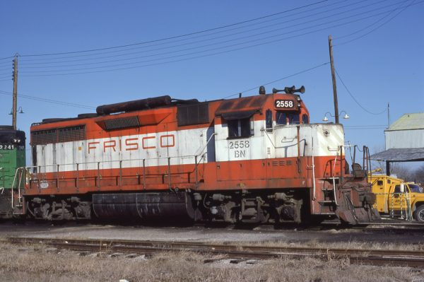 GP35 2558 (Frisco 708) at Fort Worth, Texas on January 31, 1982