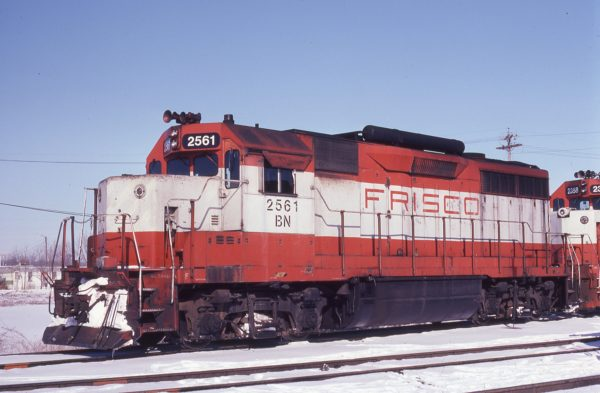 GP35 2561 (Frisco 711) at West Quincy, Iowa on February 7, 1982 (Gary Powell)