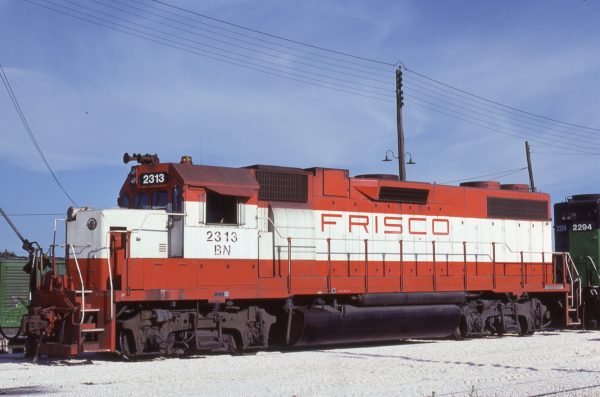 GP38-2 2313 (Frisco 458) at Fort Worth, Texas on August 15, 1982