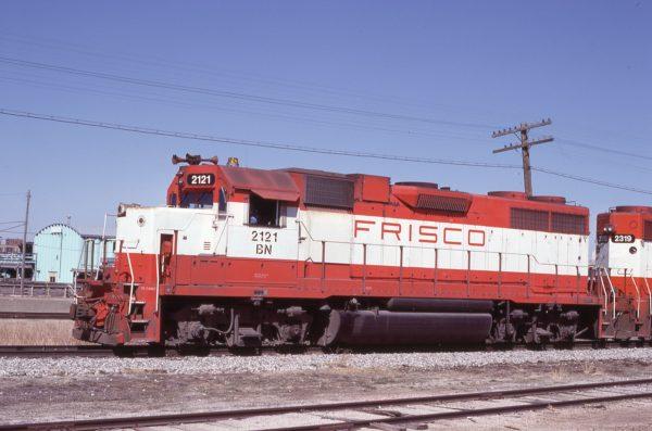 GP38AC 2121 (Frisco 644) at St. Joseph, Missouri on March 15, 1981 (Jim Shepard)