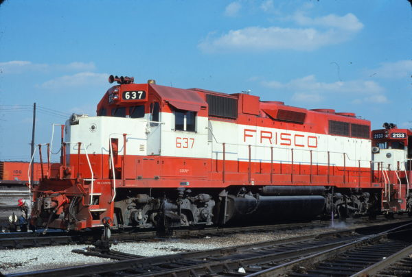 GP38AC 637 at Memphis, Tennessee in March 1981 (Lon Coone)