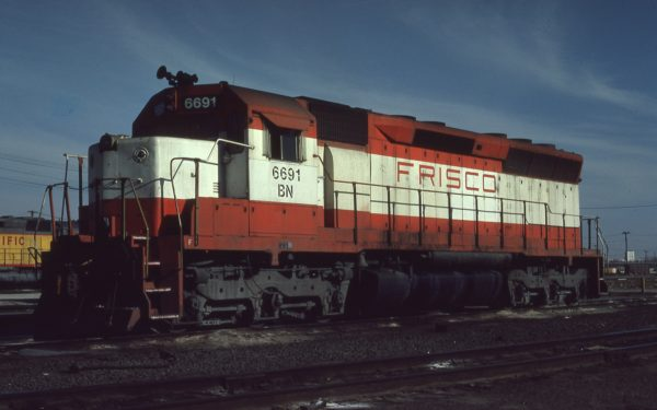 SD45 6691 (Frisco 943) at Council Bluffs, Iowa on January 30, 1981 (Jerry Bosanek)