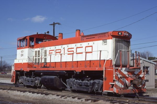 SW1500 45 (Frisco 340) at Memphis, Tennessee in February 1981 (Lon Coone)