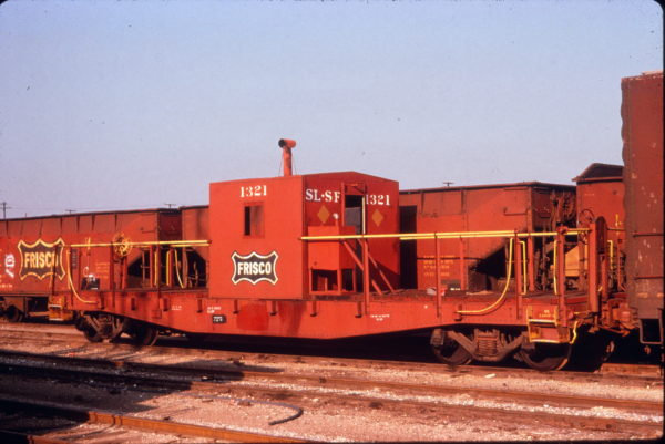 Transfer Caboose 1321 at Tulsa, Oklahoma in September 1974