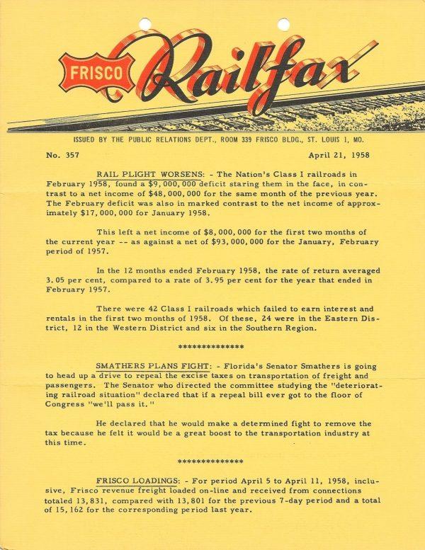 Railfax 357 - April 21, 1958