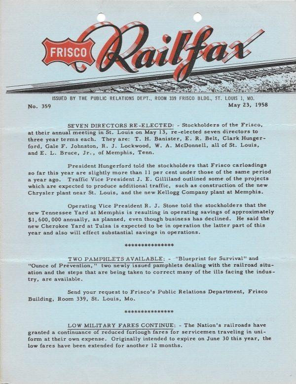 Railfax 359 - May 23, 1958