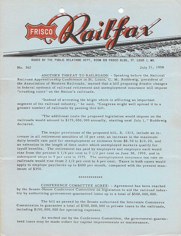 Railfax 362 - July 21, 1958