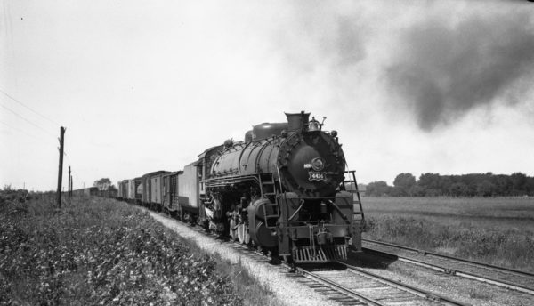 4-8-2 4414 with the 3rd Section of Train #34 (61 cars) at Nicols, Missouri on September 3, 1944 (Louis A. Marre)