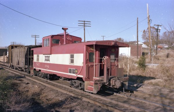 Caboose 1702 at Rogers, Arkansas (date unknown)