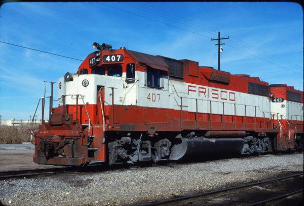 GP38-2 407 at Tulsa, Oklahoma on November 28, 1980 (Bill Bryant)