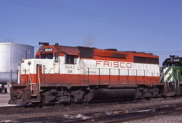 GP40-2 3043 (Frisco 753) at Tulsa, Oklahoma on February 16, 1983 (Paul Strang)
