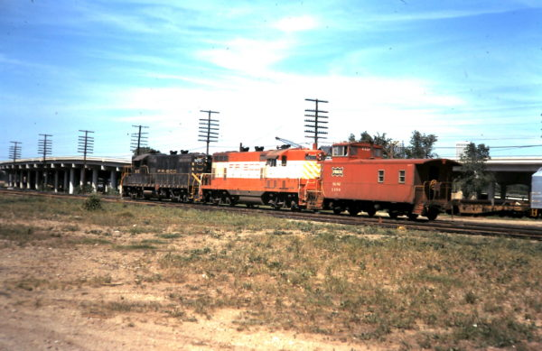 GP7 570 and Caboose 1104 at Tulsa, OK (date unknown)