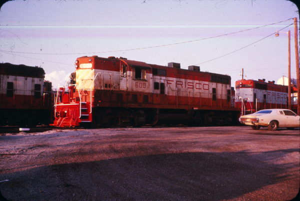 GP7s 600 and 584 at Hugo, Oklahoma on April 13, 1974