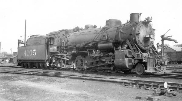 2-8-2 4105 at Springfield, Missouri on August 27, 1949 (Arthur B. Johnson)