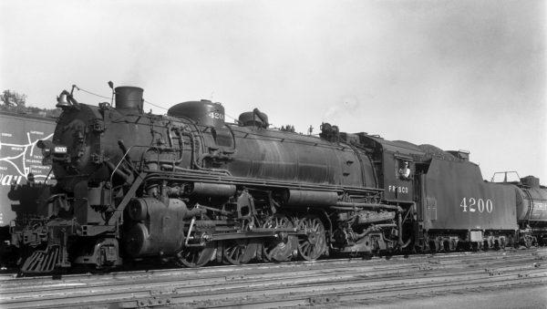 2-8-2 4200 at Kansas City, Missouri on October 13, 1940 (J.T. Boyd)