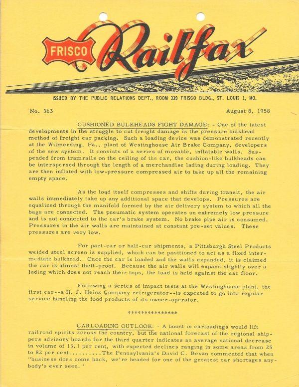 Railfax 363 - August 8, 1958