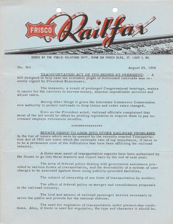 Railfax 364 - August 29, 1958