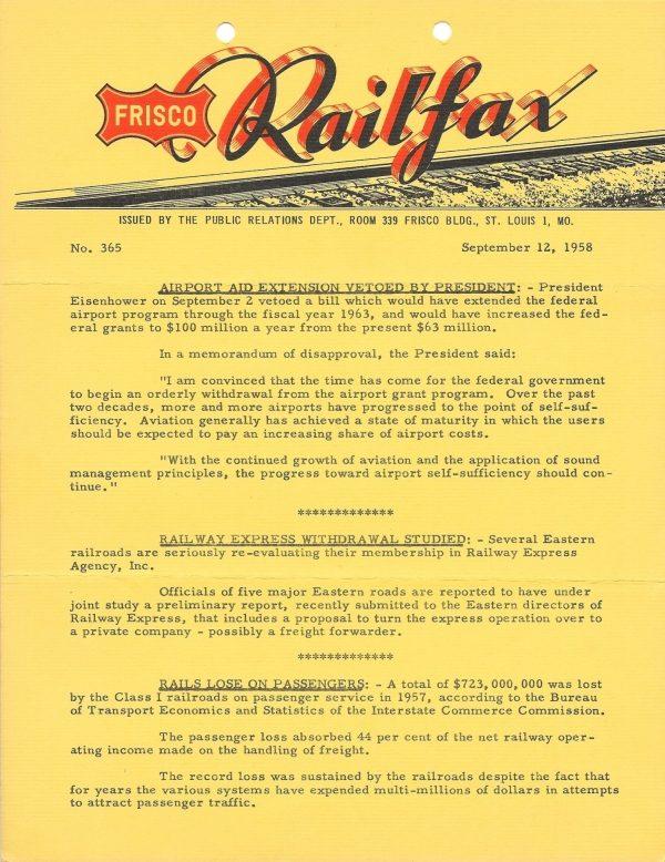 Railfax 365 - September 12, 1958