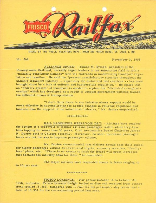 Railfax 368 - November 3, 1958