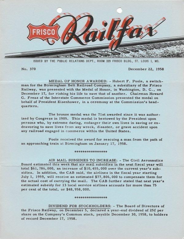 Railfax 370 - December 22, 1958