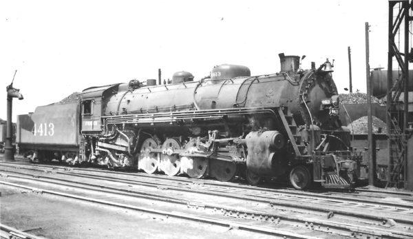 4-8-2 4413 at Springfield, Missouri on April 17, 1948 (Arthur B. Johnson)