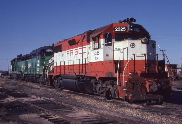 GP38-2 2325 (Frisco 470) at Neodesha, Kansas on November 10, 1981 (Mark Simonson)