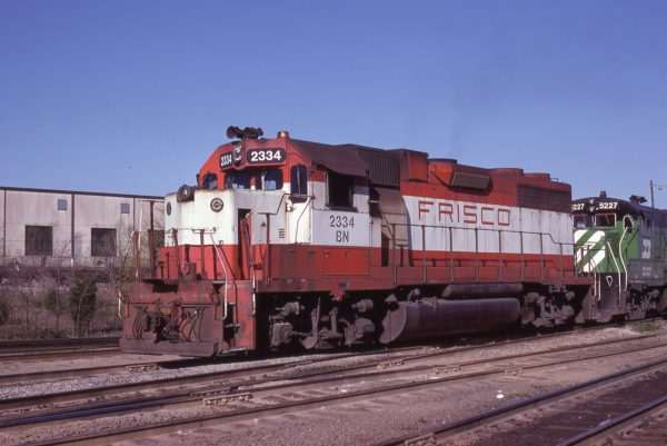 GP38-2 2334 (Frisco 663) at Birmingham, Alabama in March 1981 (Lon Coone)