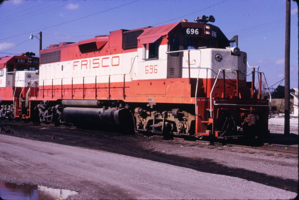 GP38-2 696 at Oklahoma City, Oklahoma in October 1973